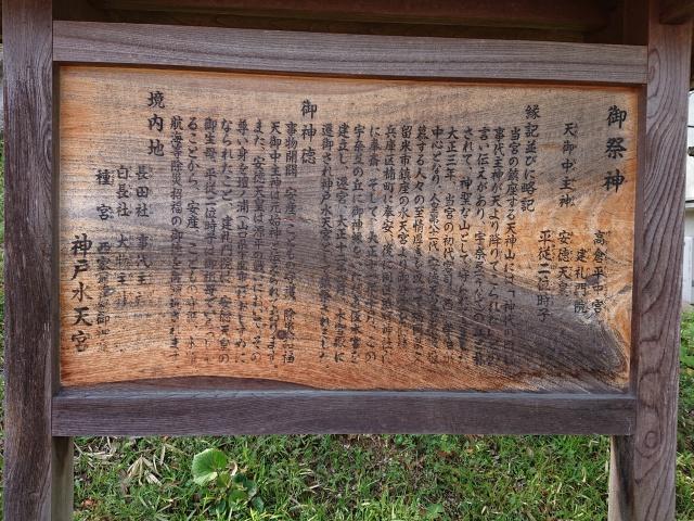 神戸水天宮の御由緒掲示板。